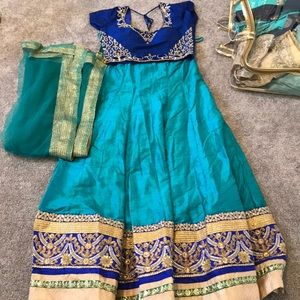 Blue and teal lehenga